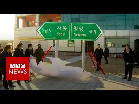 Ceremony held to reconnect N and S Korea - BBC News