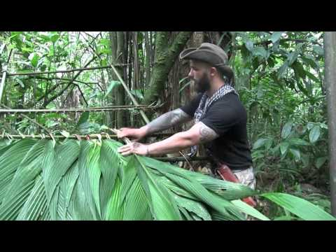 Jungle Survival Shelter -Thatching a Lean Too w Palm