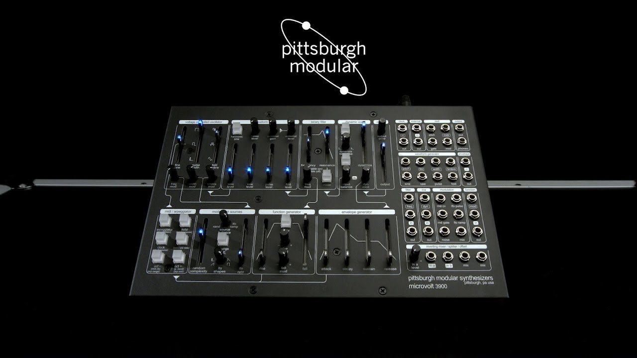 pittsburgh modular microvolt 3900 patchable synthesizer gear4music demo youtube. Black Bedroom Furniture Sets. Home Design Ideas