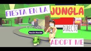 PARTY OF THE JUNGLA IN ADOPT ME!!!! #QUEREMOSUNLORO ROBLOX!!!! DIREENPETSNEON (31-08-19)