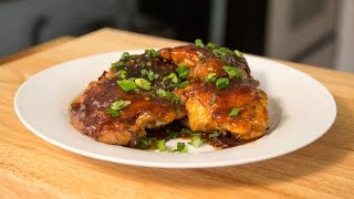 Crispy Chicken Thighs with Plum Sauce