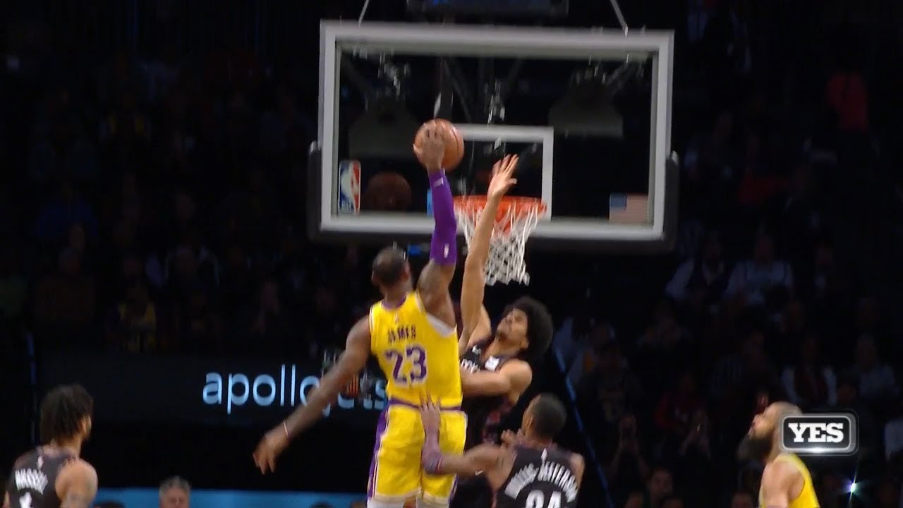 low priced e6fde d006b LeBron James Gets Blocked By Jarrett Allen - BLOCK OF THE YEAR? - Lakers vs  Nets