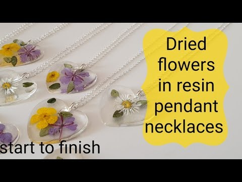 Flowers in resin pendant jewellery from start to finish