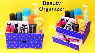 DIY : How to make Makeup Organizer with waste cardboard | Best out of waste | Space saving organizer