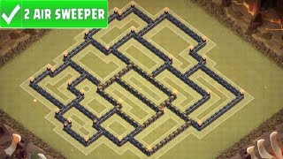 "Clash Of Clans - ""BEST"" ANTI 3 STAR TOWN HALL 9 (TH9) WAR BASE W/ 2 Air Sweepers  + REPLAYS"