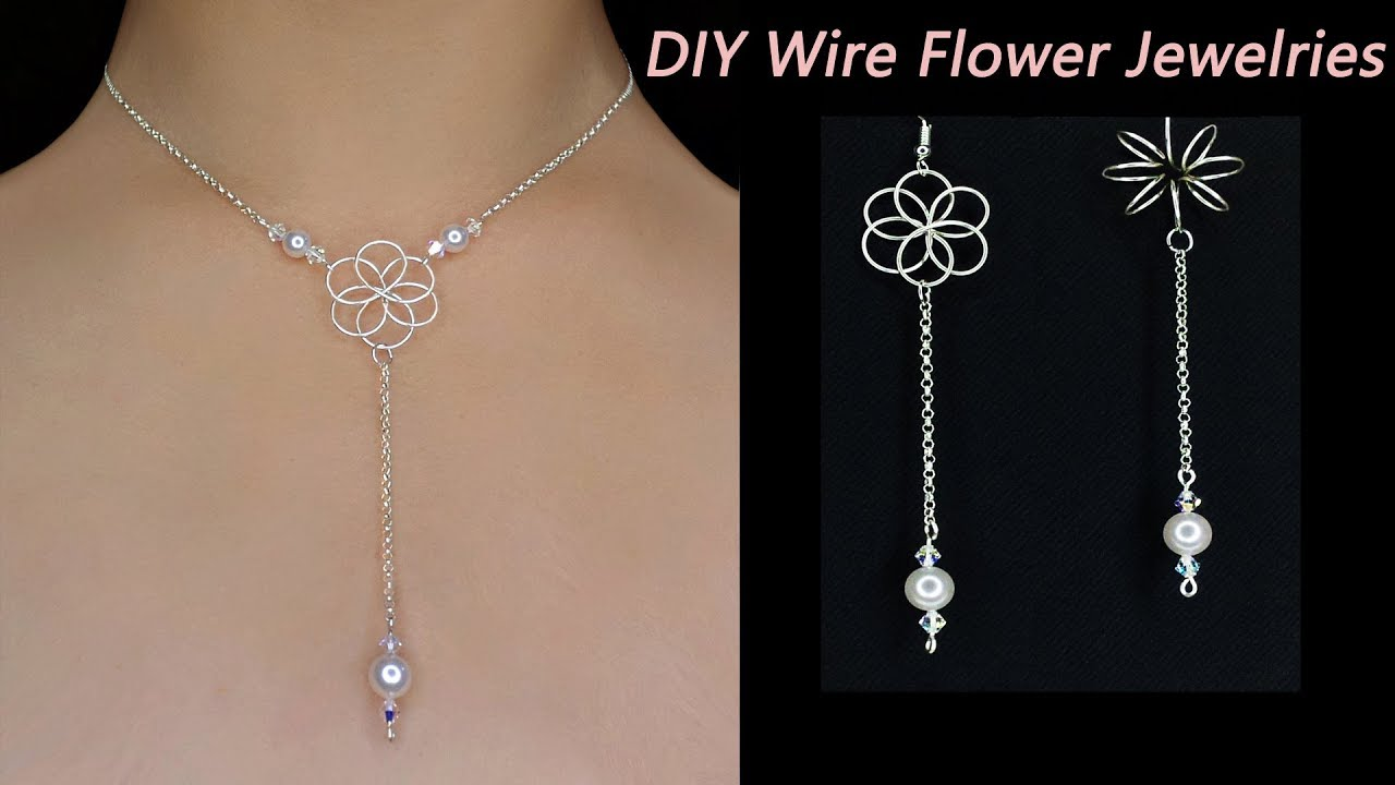 Easy Diy How To Make Wire Wrapped Flower Necklace With Pearl 3d