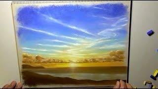 パステルで夕日を描きました。