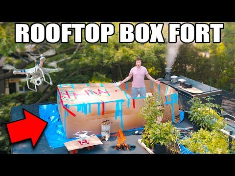 24 HOUR ROOFTOP BOX FORT SURVIVAL CHALLENGE!!