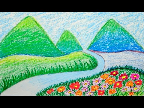 Scenery drawing of mountain, scenery for kids, scenery for children, scenery for beginners, drawing
