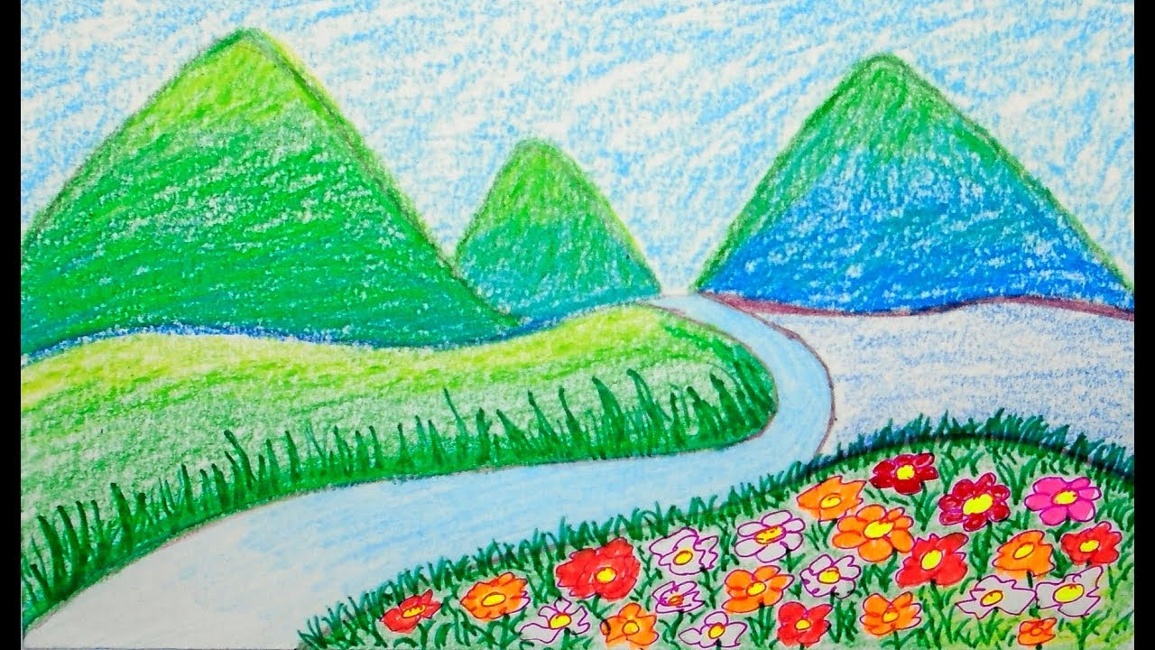 Scenery Drawing Of Mountain Scenery For Kids Scenery For Children