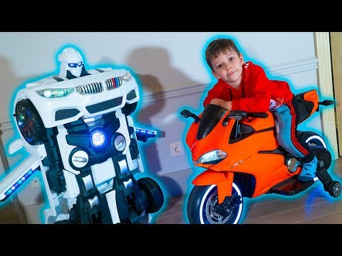 Funny Tema ride on Sportbike and Pretend Play with toys Robot car TRANSFORMER