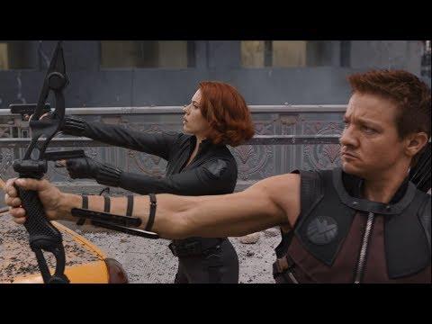 Капитан Америка, Чёрная Вдова и Соколиный Глаз против Читаури | Мстители (2012)