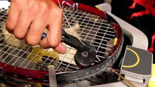 Racquet Stringing; How To Use A Cam Action Clamp, And Tie Off  A Pro Knot