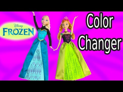 Disney Frozen Queen Elsa Water COLOR CHANGE Princess Anna Magic Dress Sisters Changer Doll Playset