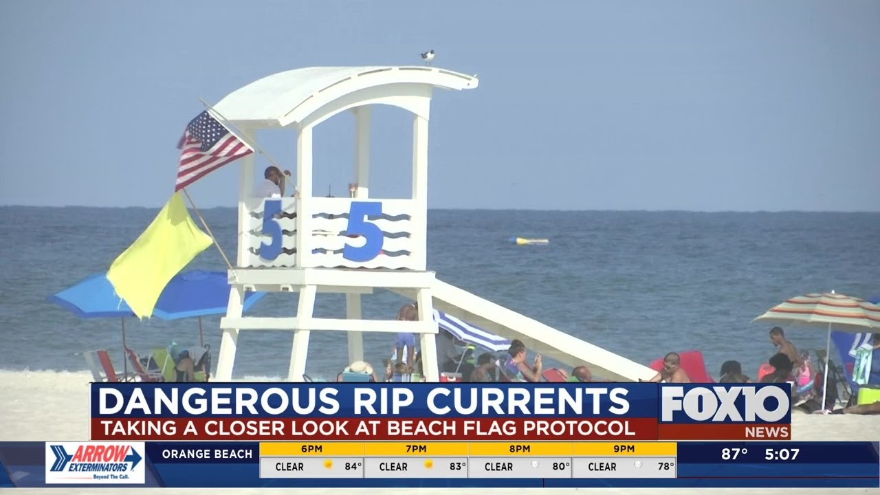 Yellow flags flying at beach at time of drowning in Gulf Shores