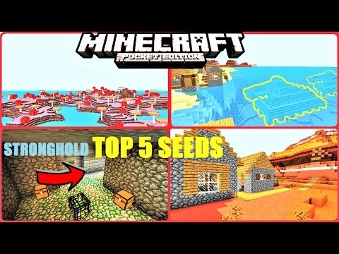 Top 5 BEST seeds for Minecraft PE ! DUNGEONS, STRONGHOLD, OCEAN MONUMENTS  & MORE ! | MCPE 1.1/1.0.8