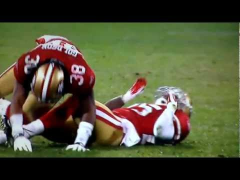 TARELL BROWN HIT BY DASHON GOLDSON INJURY 49ERS NFL Football
