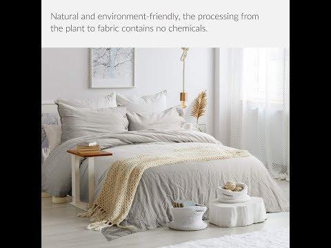 """bedsure-45%-cotton-&-55%-linen-duvet-cover-queen-with-2-pillow-shams---full-size(90""""x90"""")"""