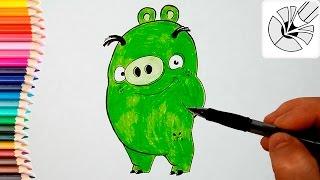 Как нарисовать Свинью карандашом (Angry Birds) - Рисование и раскраска для детей(Развивающее видео для детей. В этом видео я показываю как нарисовать Свинью карандашом - персонаж
