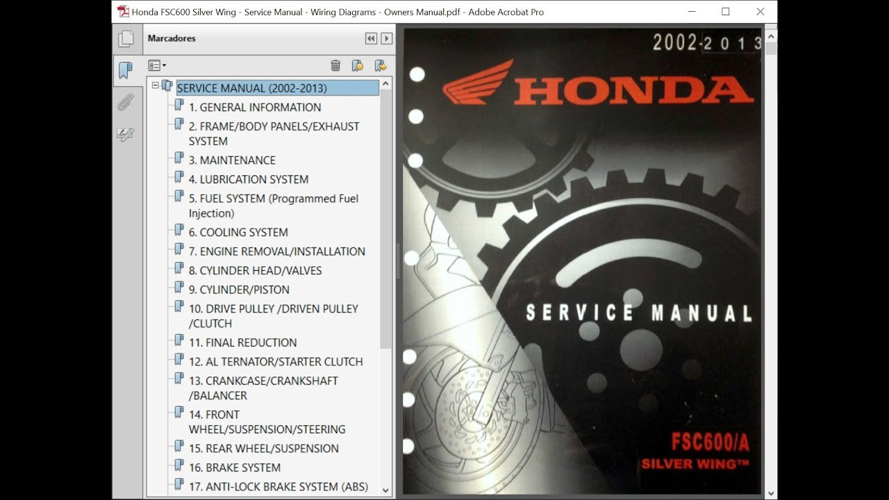 Honda Fsc600 Silver Wing   Repair Manual