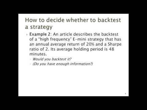 Backtesting Algorithmic Trading Strategies
