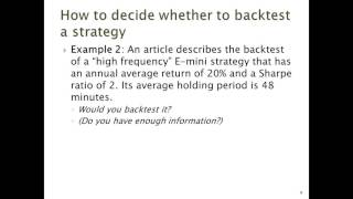 Backtesting Algorithmic Trading Strategies