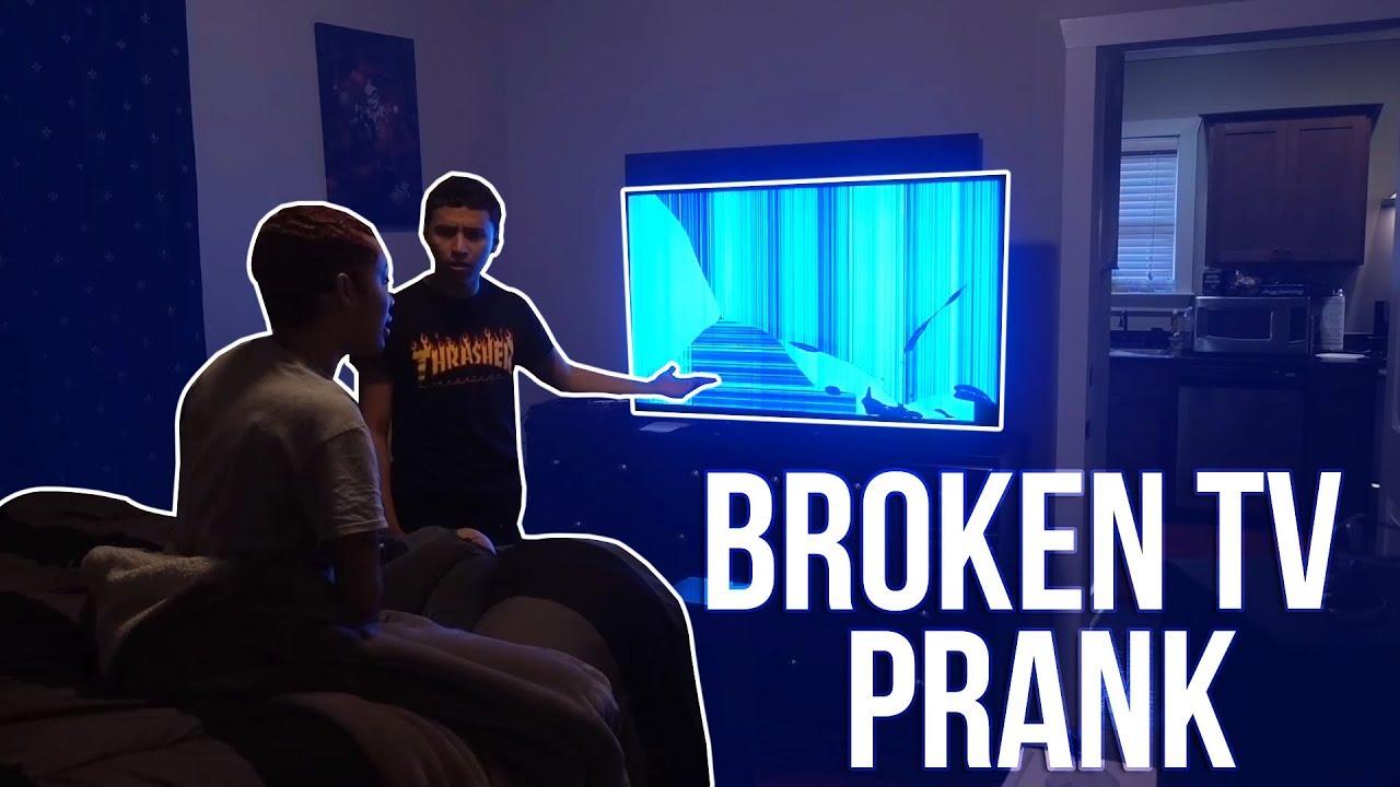 Broken tv screen prank on boyfriend he gets mad - How to do the broken tv screen prank ...