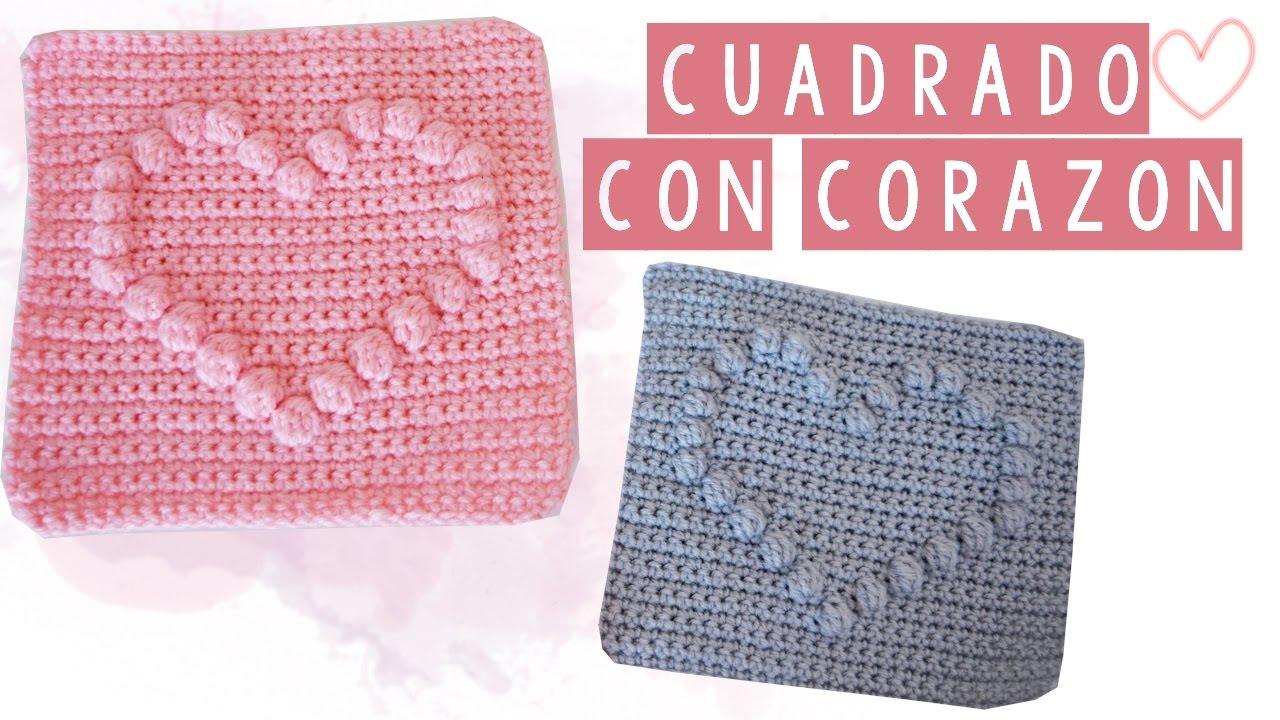 CUADRADO DE CROCHET CON CORAZON - TUTORIAL   Danii\'s Ways ♡ - YouTube