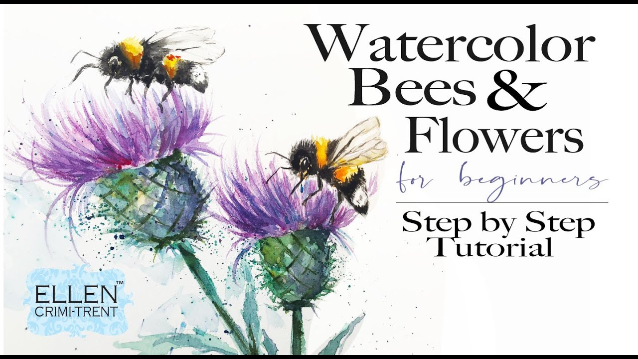 Watercolor Bees and Flowers Tutorial