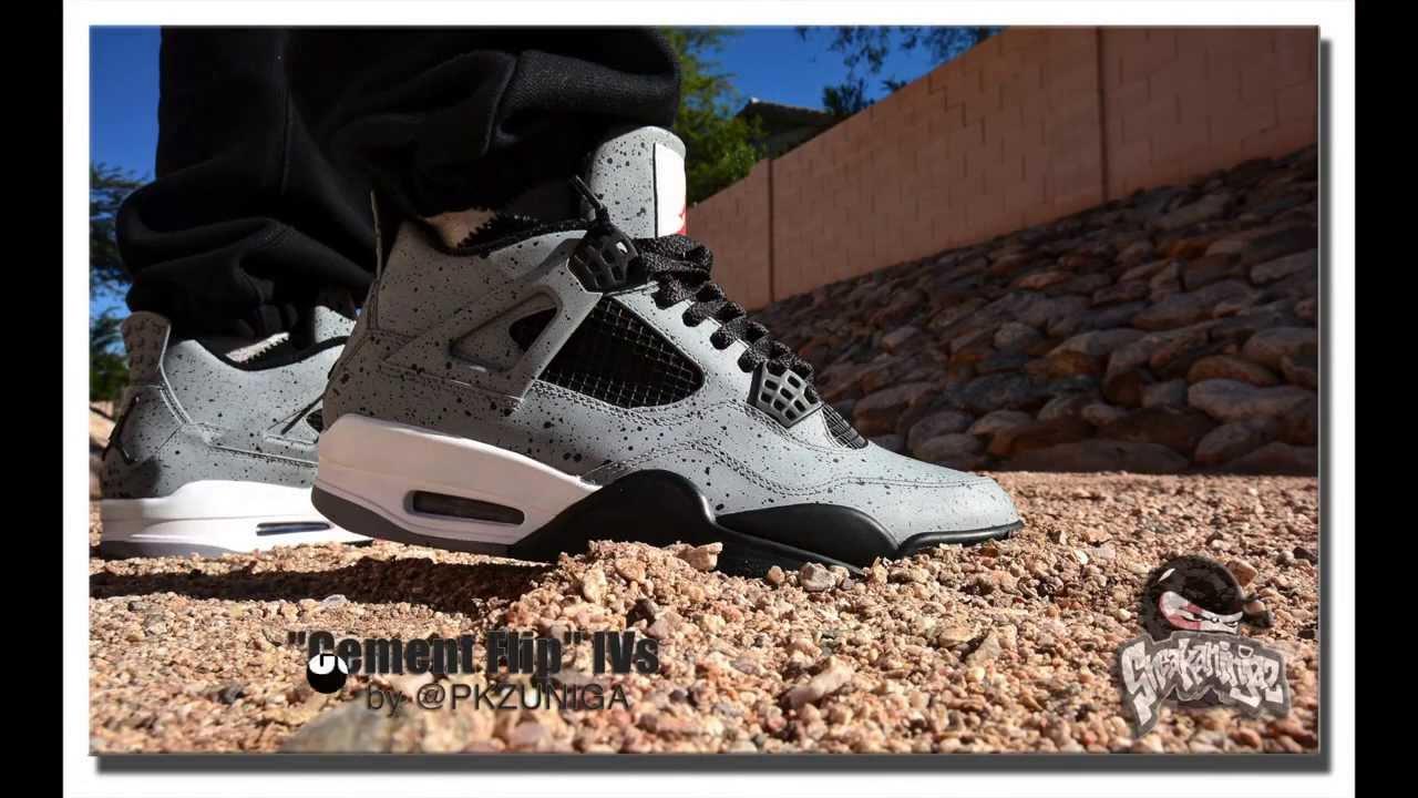 090900c0df5e9 On Feet} Custom AJ IV 'Cement Flip' by: PKZUNIGA(HD) - YouTube