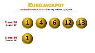 Eurojackpot Gewinnzahlen Ziehung Freitag 28.10.2016; Jackpot steigt auf 15 Mio. €