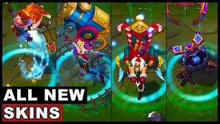 All New Skins Santa Draven Ambitious Elf Jinx Snow Fawn Poppy Hextech Kog'Maw (League of Legends)