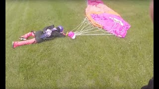 Both parachutes failed skydiving malfunction with hard landing.