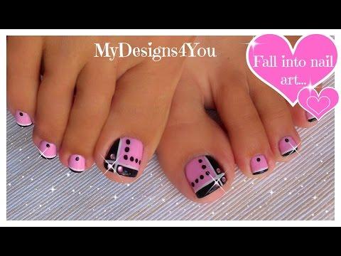 Toenail Art Design | Pink And Black Toes ♥ Diseño De Uñas De Pies