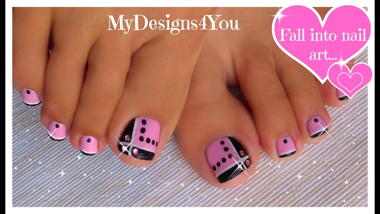 Toenail Art Design Pink And Black Toes Diseño De Uñas Pies
