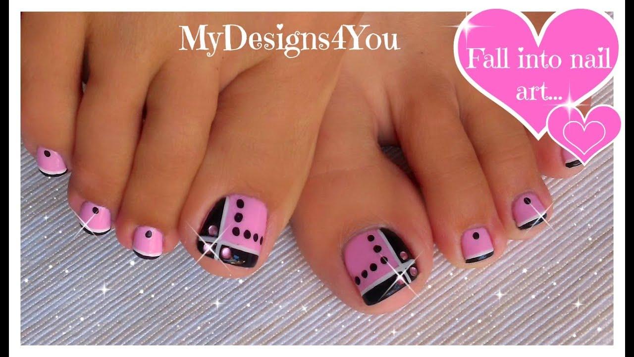Toenail Art Design Pink And Black Toes Diseno De Unas De Pies