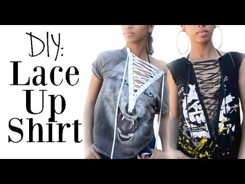 Diy Fashion T Shirt Reconstruction Lace Up Shirt Sew No Sew