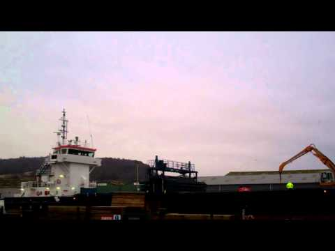 Unloading Cargo Ship Harbour Perth Perthshire Scotland February 9th