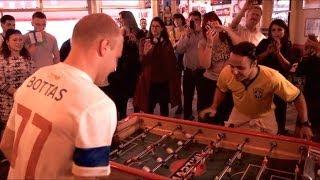 Felipe Massa & Valtteri Bottas playing table football