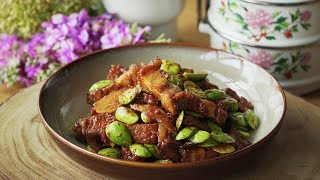Stir Fried Roast Pork with Sambal Petai - 烧肉炒臭豆