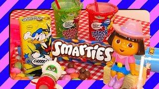 Candy Sweets For Kids Unpacking Candies Dora Planes Smarties Donald Duck Splash Pop Surprise Eggs