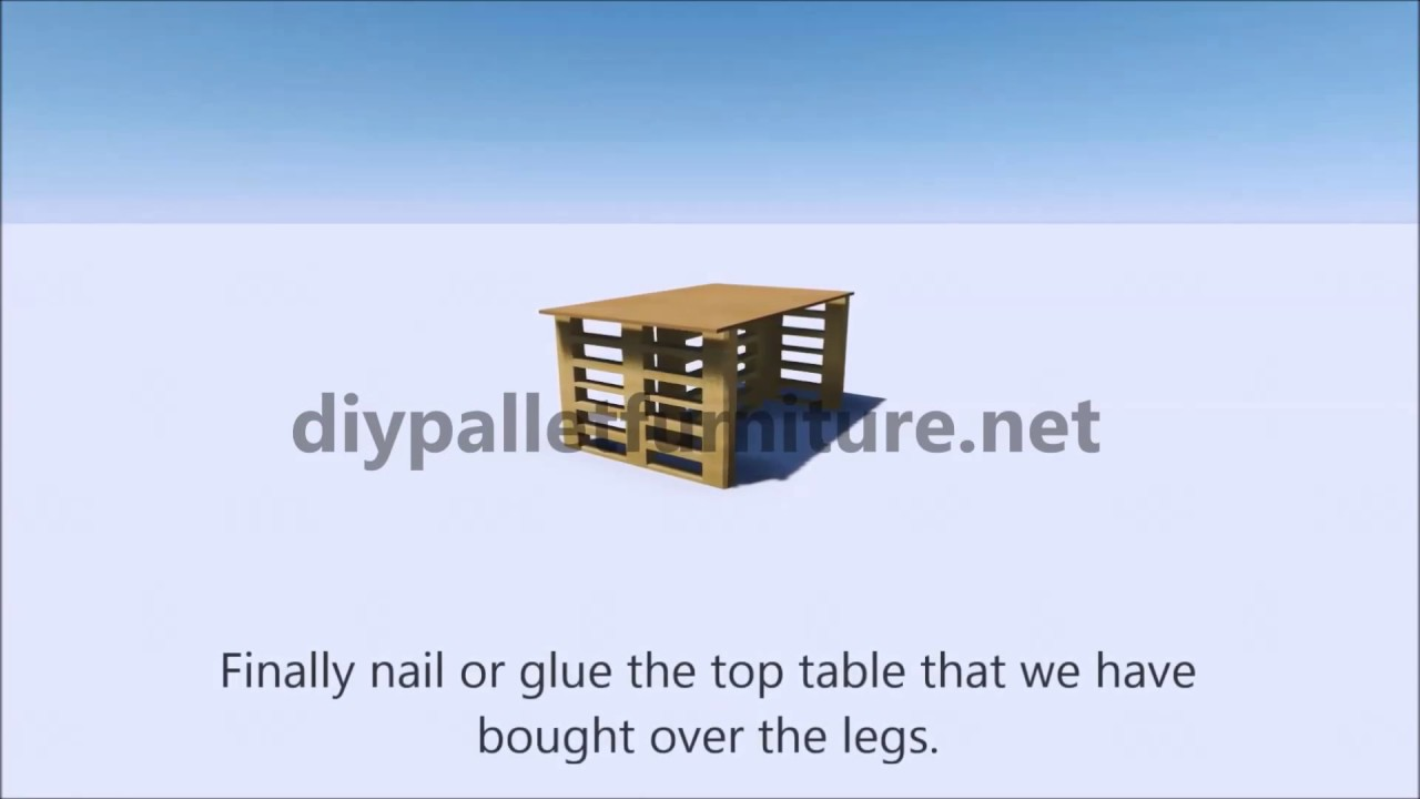 instructions of how make an office desk with europalets