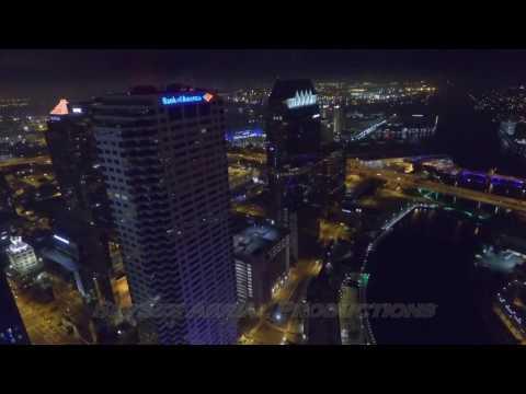 Downtown Tampa at Night - Aerial Footage - DJI Phantom 3 - Blackmill