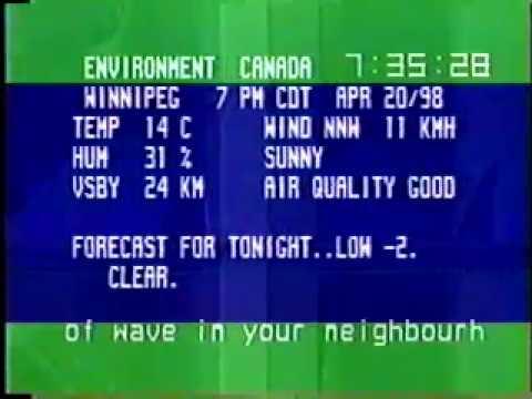 Winnipeg - Environment Canada weather channel (April 20, 1998)