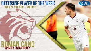 Gambar cover Roman Cano, Trinity University, Men's Soccer Defensive Player of the Week (Week 3)