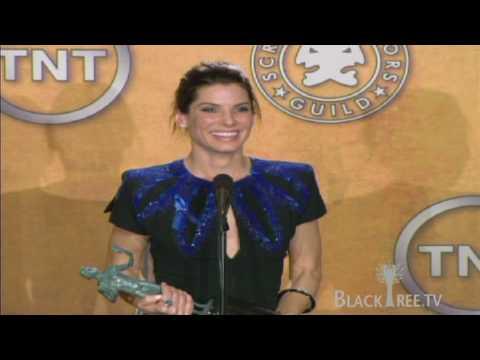 Sandra bullock wins Actor® and tells the media to hush ;-)