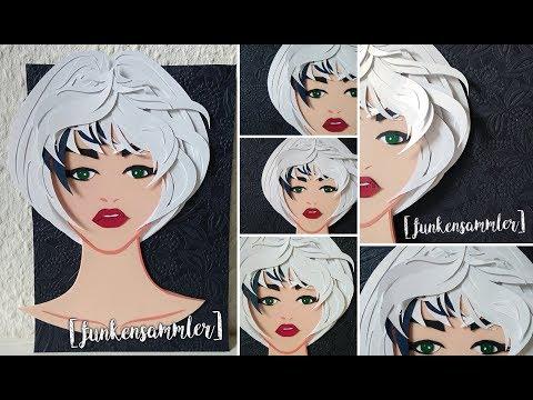DIY I 3D Paper Art Cut Woman/ Hairdresser Voucher - Frisör Gutschein