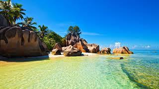 Картинка лето. Тропики, остров, океан, Сейшелы, небо, камни, море, пальмы