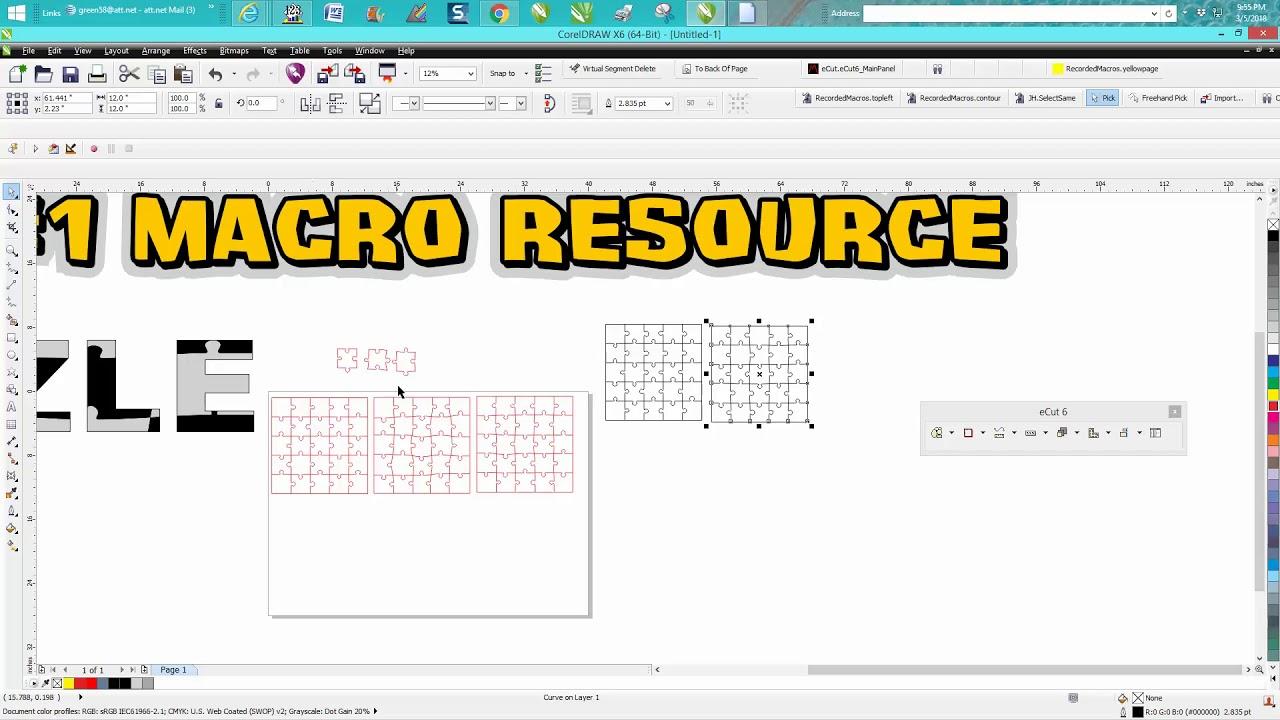 Corel Draw Tips & Tricks Macro E CUT MacroMonster Puzzle maker Part 2
