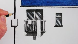 How to Draw Buildings: Draw a Balcony: Narrated Tutorial